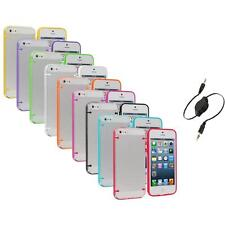 Color Clear Robot Crystal Hard Snap-On Case Cover+Aux Cable for iPhone 5 5S