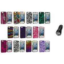 Zebra Design Hard Snap-On Rubberized Case Cover+2.1A Charger for iPhone 5 5S