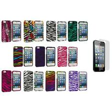Zebra Design Hard Snap-On Rubberized Case Cover+3X LCD Protector for iPhone 5 5S