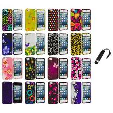 Color Design Hard Snap-On Rubberized Case Cover+Stylus Plug for iPhone 5 5S