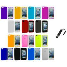 Color Silicone Gel Rubber Soft Skin Case Cover+Stylus Plug for iPhone 5 5S