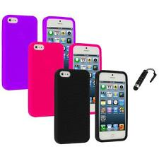 Color Silicone Earth Swirl Rubber Skin Case Cover+Stylus Plug for iPhone 5 5S