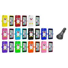 For Apple iPhone 5C Penguin Case Silicone Cute Soft Gel Skin Cover+Car Charger
