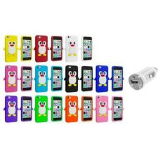 For Apple iPhone 5C Penguin Case Silicone Cute Soft Gel Skin Cover+USB Charger