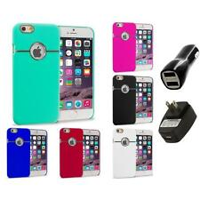 For Apple iPhone 6 (4.7) Hard Deluxe Chrome Case Cover Accessory 2X 2A Chargers