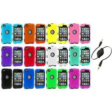 DELUXE COLOR BLACK CASE FOR IPOD TOUCH 4 4G 4TH GEN+PROTECTOR+AUX CABLE
