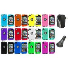 DELUXE COLOR BLACK CASE FOR IPOD TOUCH 4 4G 4TH GEN+PROTECTOR+2X CHARGERS