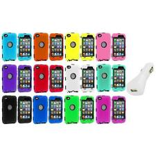 DELUXE COLOR BLACK CASE FOR IPOD TOUCH 4 4G 4TH GEN+PROTECTOR+WHITE CHARGER