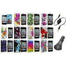 Flower Design Hard Case Cover Accessory+Aux+Charger for iPod Touch 4th Gen 4G 4