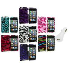 Zebra Design Hard Case Cover Accessory+White Charger for iPod Touch 4th Gen 4G 4