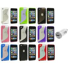 TPU S-Line Deluxe Rubber Case Cover+USB Charger for iPod Touch 4th Gen 4G 4