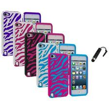 Zebra Hybrid Hard Soft Case Cover+Stylus Plug for iPod Touch 5th Gen 5G