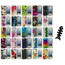 Flower Design Hard Rubberized Case Cover+Cable Wrap for iPod Touch 5th Gen 5G