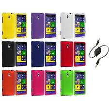For HTC Windows Phone 8XT Color Hard Snap-On Rubberized Case Cover+Aux Cable