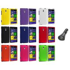 For HTC Windows Phone 8XT Color Hard Snap-On Rubberized Case Cover+Car Charger