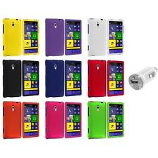 For HTC Windows Phone 8XT Color Hard Snap-On Rubberized Case Cover+USB Charger