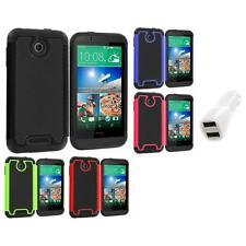 For HTC Desire 510 Hybrid Armor Rugged Hard Case Cover Accessory Car Charger