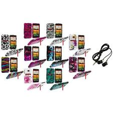 Design Hard Snap-On Case Cover Accessory+Headphones for HTC EVO 4G LTE Sprint
