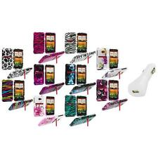 Design Hard Snap-On Case Cover Accessory+White Charger for HTC EVO 4G LTE Sprint