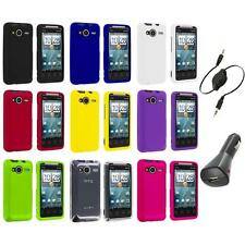 Color Hard Snap-On Case Cover+Aux+Charger for HTC EVO Shift 4G Phone Accessory