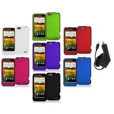 Color Hard Snap-On Rubberized Case Cover Accessory+Charger for HTC One V