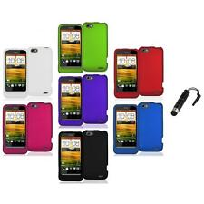 Color Hard Snap-On Rubberized Case Cover Accessory+Stylus Plug for HTC One V