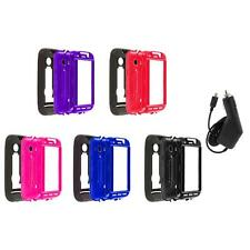 Hybrid Rugged Hard/Soft Case Cover Stand+Charger for Huawei Ascend 2 II M865