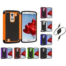 For LG G Pro 2 Hybrid Rugged Shockproof Hard Matte Case Cover Aux Cable
