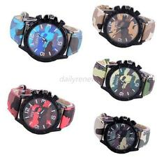 Men Women Girl Fashion Camo Silicone Quartz Analog Wrist Watch Wristwatch Gift