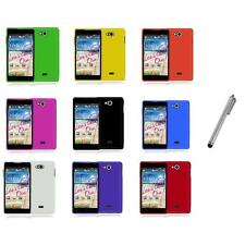 For LG Spirit 4G MS870 Color Hard Snap-On Rubberized Case Cover+Metal Pen