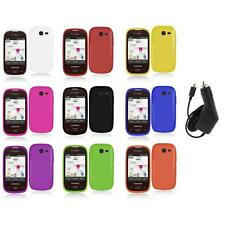 For Samsung Gravity Q Hard Snap-On Rubberized Case Cover Accessory+Charger