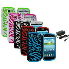 Hybrid Zebra Color Hard Soft Case Cover+Wall Charger for Samsung Galaxy S3 S III