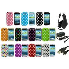 TPU Polka Dot Case Cover Accessory+3X Chargers for Samsung Galaxy S3 S III i9300