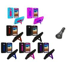 Hybrid Case Cover Stand+Car Charger for Samsung Attain Galaxy S2 II i9100