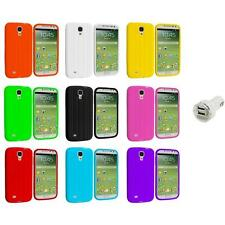 Tire Tread Soft Silicone Case Cover+Dual Charger for Samsung Galaxy S4 SIV i9500