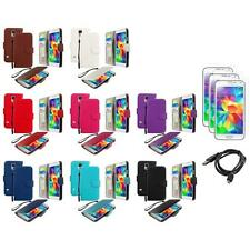 For Samsung Galaxy S5 Leather Wallet Pouch Case Cover + Screen Protector+USB