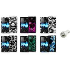 Design Hard Snap-On Case Cover+Dual Charger for Sony Ericsson Xperia TL LT30at