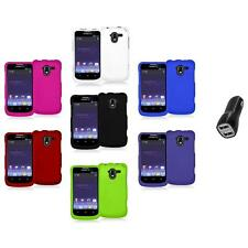 Color Hard Rubberized Case Cover+2.1A Charger for ZTE Avid 4G N9120 Metro PCS