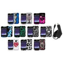 Design Hard Snap-On Rubberized Case Cover+Charger for ZTE Avid 4G N9120