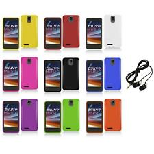For ZTE Engage LT N8000 Color Hard Snap-On Matte Case Cover+Headphones