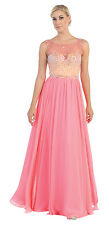 Long Sleeveless Sequins Pleated Chiffon 2016 Prom Dress