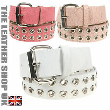 38mm Eyelet Studded Cheap Crack Colourful Leather Belt Made In UK Mens Womens