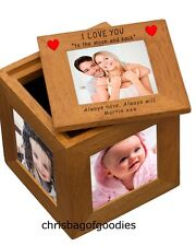 PERSONALISED I WE LOVE YOU TO THE MOON and BACK Photo CUBE Gifts Presents for
