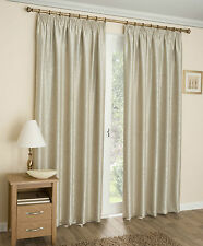 Cream Thermal Blockout Damask Pattern Pencil Pleat Tape Top Ready Made Curtains