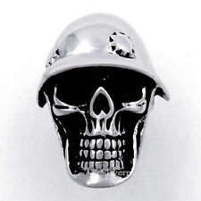 Helmets Skull Soldier Mens Silver 316L Stainless Steel Biker Ring US Size 8 to13