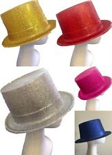 5x Adults Glitter Top Hat Fancy Party Costume Plastic Tall Cap Fun Dress Up Colo
