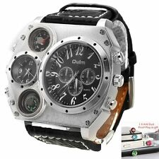 Sport Military Stainless Steel Quartz Dial PU Leather Wrist Watch for Men #Gift