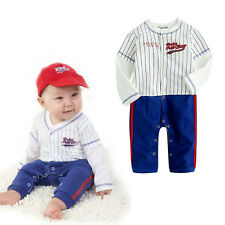 Baby Boy Baseball Outfit - Fancy Party Costume Bodysuit 100% Cotton 6 12 18 24M