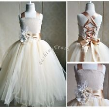 Flower Girls Princess Wedding Bridesmaid Party Pageant Recital Ball Gown Dress