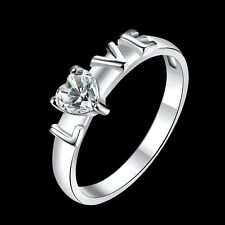 925 Sterling Silver Plated Womens Wedding Heart Crystal & LOVE Band Ring Jewelry